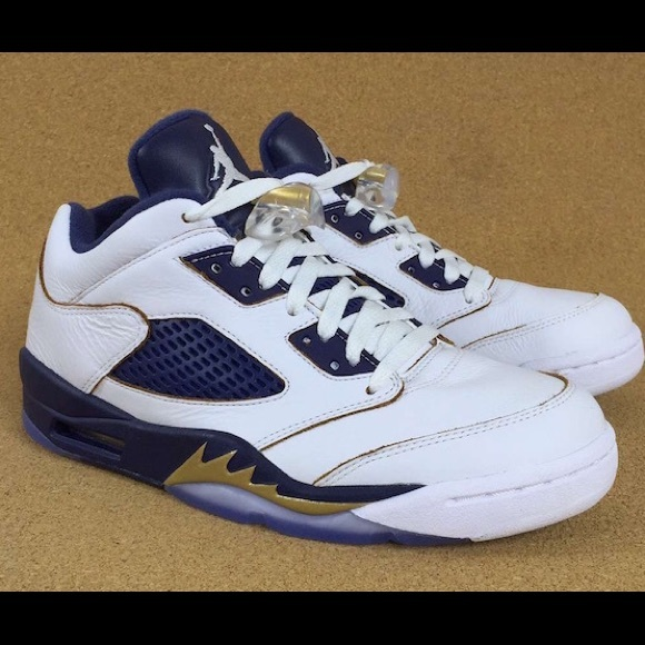 buy popular 923ed 43c5a Air Jordan Retro 5 Blue and Gold Sneakers